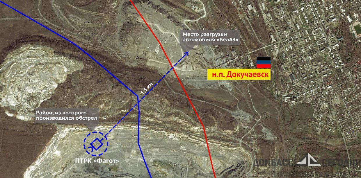 «БелАЗ» под терриконом уничтожен ВСУ в момент разгрузки, водитель погиб
