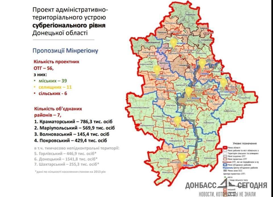 Украина снова решила перекроить районы Донбасса