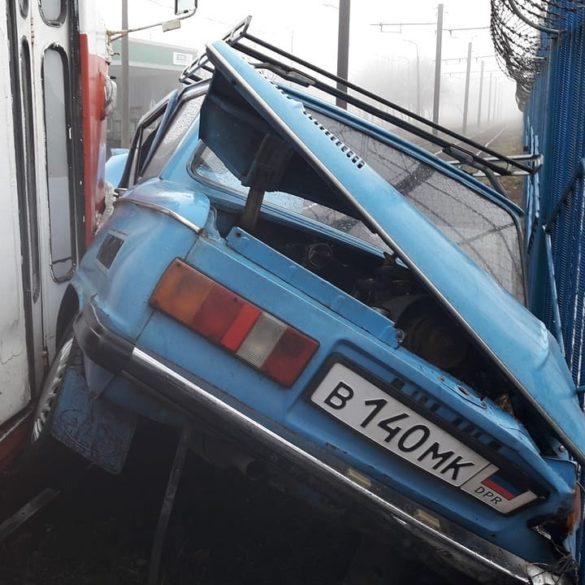 В донецком тумане трамвай влетел в «Запорожец»