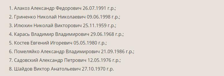 В ДНР опубликовали имена лиц, которых не забрала Украина